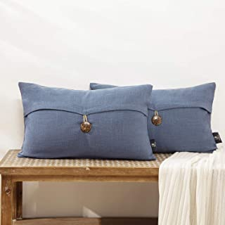 Phantoscope Pack of 2 Farmhouse Throw Pillow Covers Button Vintage Linen Decorative Pillow Cases for Couch Bed and Chair, Blue, 12 x 20 inches, 30 x 50 cm
