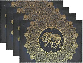 Franzibla Hippie Indian Elephant Mandala Placemat Table Mat, 12 x 18 Polyester Place Mat for Kitchen Dining Room Set of 6