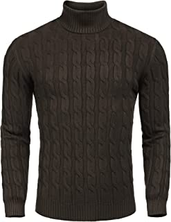 Men's Slim Fit Turtleneck Sweater Casual Twisted Knitted Pullover Sweaters