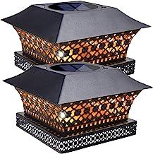 Siedinlar Solar Post Lights Outdoor Fence Deck Cap Light Solar Powered Metal Warm White LED Lighting Waterproof for Garden...