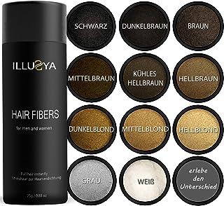 ILLUSYA® Fibras Capilares - Hair Fiber - Caída del cabello - Fibras capilares para el engrosamiento del cabello. marca de primera calidad. Cabello completo en segundos. 25g (CASTAÑO OSCURO)
