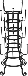 MyGift Vintage Rustic Black Iron Mug/Glass/Cup/Bottle Hanger Hooks Drying Rack Organizer Stand