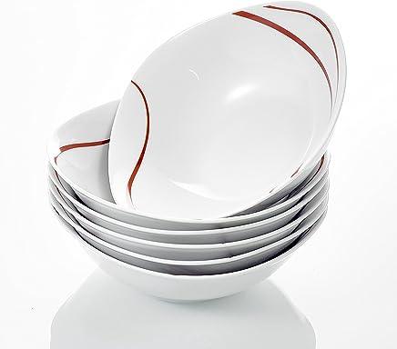 Preisvergleich für MALACASA, Serie Felisa, 6 teilig Müslischale Set Porzellan Dessertschale Schüsseln 17x17x5cm