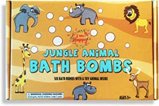 Kids Bath Bombs with Surprise Toys Inside: Safari Jungle Animals. Fun Bubble Bath Time with Lush Bath Fizzies. Bath Bombs Gift Set for Kids with Learning Toys for 3 4 5 6 7 8 years old Boys and Girls
