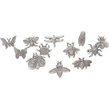 Botanical - Juego de 12 servilleteros surtidos para la familia de insectos, anillos para servilletas, para decoración de fiestas, mesa de comedor, reuniones familiares, una gran decoración de mesa, color plateado