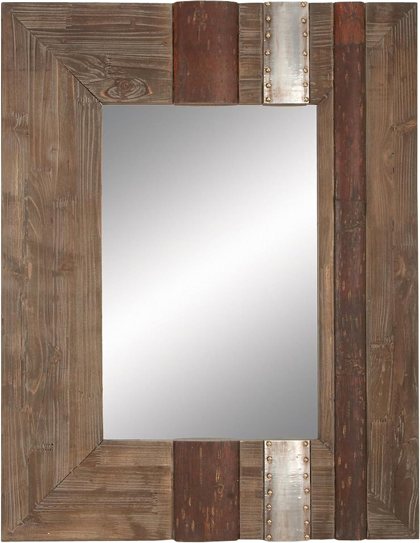 Deco 79 78344 Wood Mirror Beautifully Designed Rectangular, 36-Inch