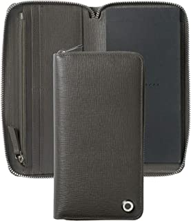 Hugo Boss HLV804H 长拉链文件夹 - M 码灰色/黑色