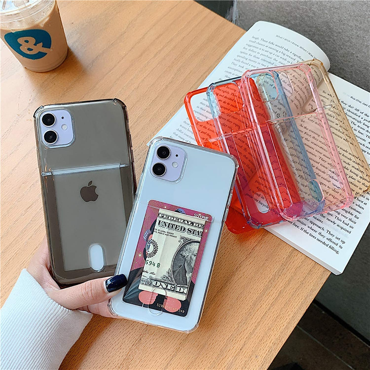 SZINTU Compatible with iPhone 12 Mini Clear Case with Card Holder Slot [Slim Fit][Wireless Charger Compatible] Protective Soft TPU Shockproof Flexible Bumper Wallet Case for iPhone 12 Mini 5.4