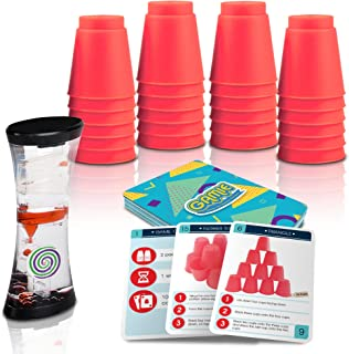 Gamie Stacking Cups Game with 18 Fun Challenges and Water Timer, 24 Stacking Cups, Sturdy Plastic, Classic Family Game, Travel and Summer Game for Kids, Tons of Fun
