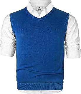 MOCOTONO Men's V-Neck Cotton Vest Casual Sleeveless Sweater