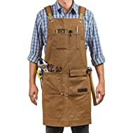 Luxury Waxed Canvas Shop Apron | Heavy Duty Work Apron for Men & Women with Pocket & Cross-Back...