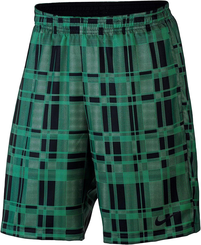 Nike Men's NikeCourt Dry 9  Tennis Shorts (Small, Green (324)   Black Plaid)