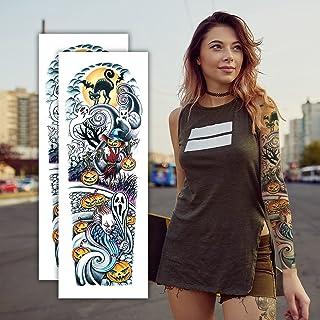 2 Sheets Halloween Temporary Tattoos, Extra Large Full Arm Fake Tattoos, Cool Waterproof Tattoo Stickers, Body/Leg/Arm Mak...