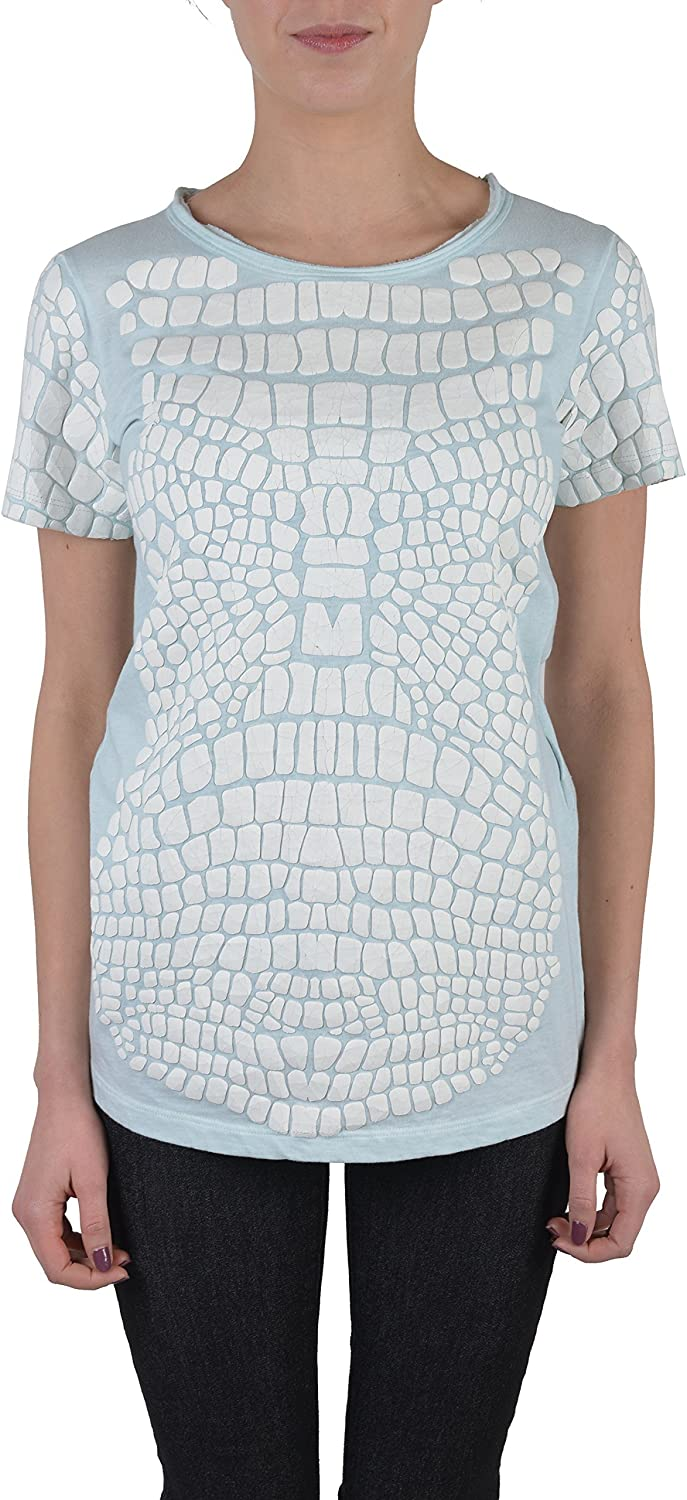 Just Cavalli Light bluee Distressed Short Sleeves Women's Blouse Top US S IT 40