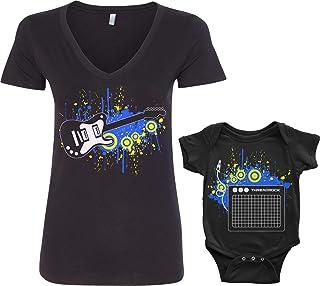 c941ec99e Threadrock Electric Guitar & Amp Infant Bodysuit & Women's V-Neck T-Shirt  Set