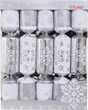 10 Deluxe Silver and White Christmas Crackers
