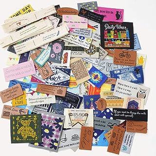 タグ盛り盛りセット 100枚 ワッペン 刺繍タグ 合皮タグ ハンドメイド 手芸材料 ラベル 35200