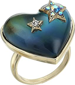 Betsey Johnson - Blue and Gold Heart Mood Ring