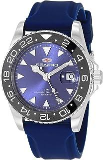 Seapro Men's Agent Stainless Steel Quartz Rubber Strap, Blue, 20 Casual Watch (Model: SP0125)