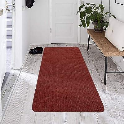 Ottomanson Scraper Collection Non-Slip Garage Mat/Entryway/Patio Runner, 2' x 5', Red