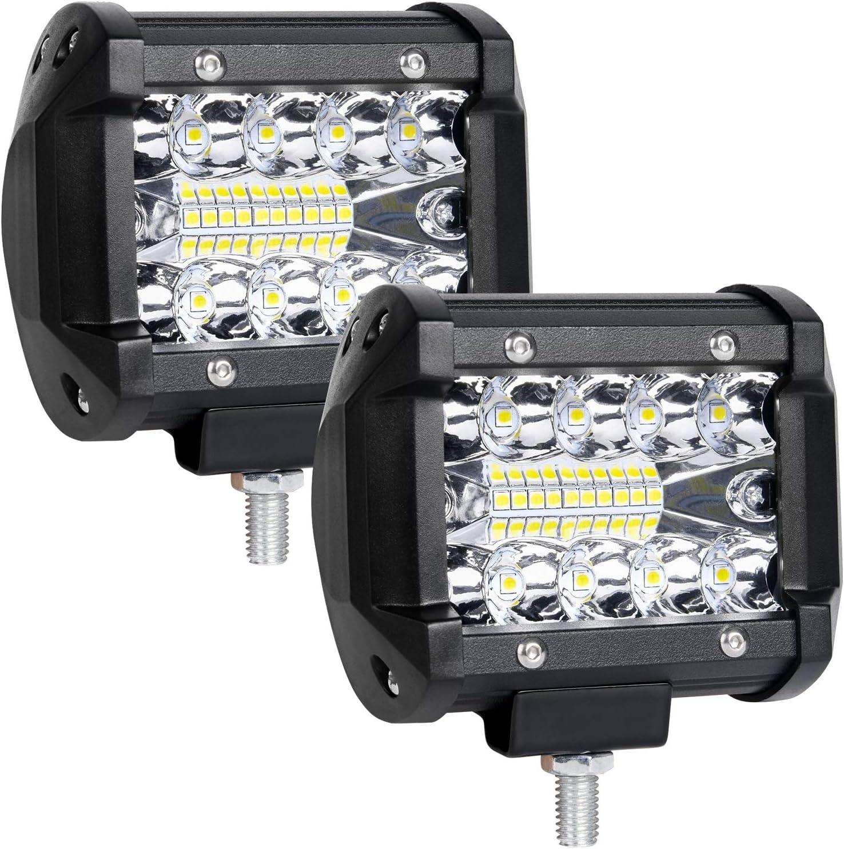 URAQT LED Faros de Trabajo, Tamaño 4 Pulgadas, 2 Pcs de Potentes Focos LED Tractor, Impermeable Focos LED Faros para Coche, SUV, UTV, ATV, Off-road, Camión, Moto