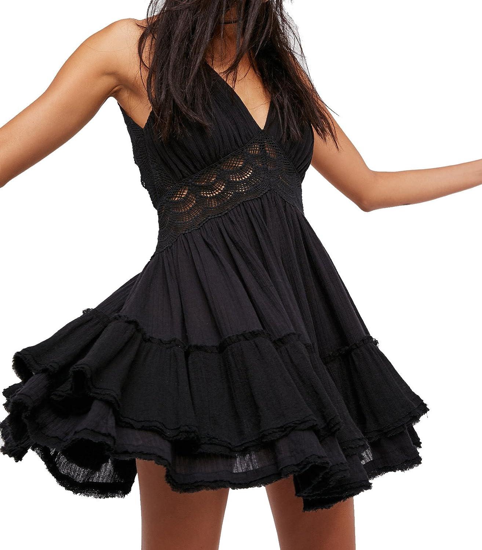 R.Vivimos Women's Summer Ruffles V Neck Backless Beach Short Dresses