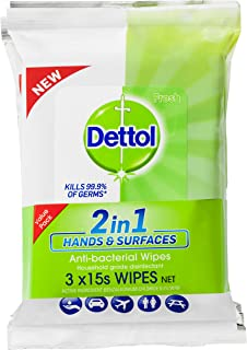 Dettol 2 in 1 Hands and Surfaces Antibacterial wipes 3 x 15 pack