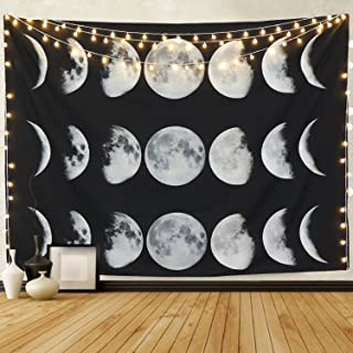 Martine Mall Tapestry Wall Hanging Tapestries Nine Phases The Full Growth Cycle The Moon Wall Tapestry Cotton Linen Wall Art, Modern Home Decor (Moon Phase Change, 70.9