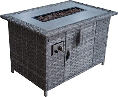 Courtyard Casual Costa Mesa Collection 1 Fire Pit Rectangular Shape, Grey