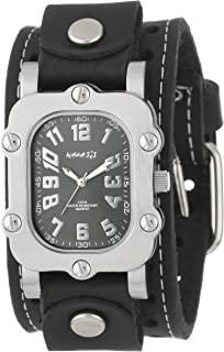 Nemesis Mens STH007K Signature Stainless Steel Watch With Leather Cuff