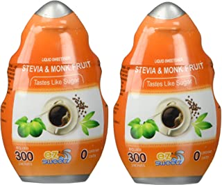 EZ-Sweetz Stevia & Monk Fruit (2 Pack | 1.36oz - Liquid Sweetener 300 Servings/Bottle)