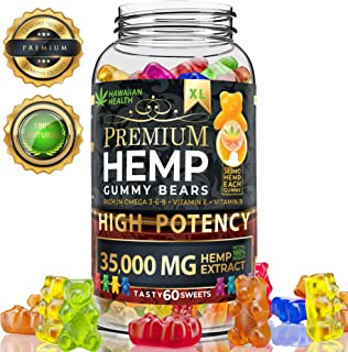 Hemp Gummies Premium 35000 milligramm High Potency - Fruity Gummy Bear with Hemp Oil - Natural Hemp Candy Supplements for Pain, Anxiety, Stress & Inflammation Relief - Promotes Sleep and Calm Mood