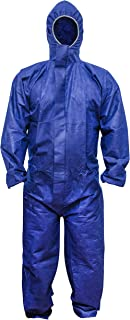 ABC Blue SMS Coverall L size. Hood, Elastic Cuffs, Ankles, Waist. Chemical Protective Coveralls. Unisex Disposable Workwear for cleaning, painting, manufacturing. Lightweight, Breathable.