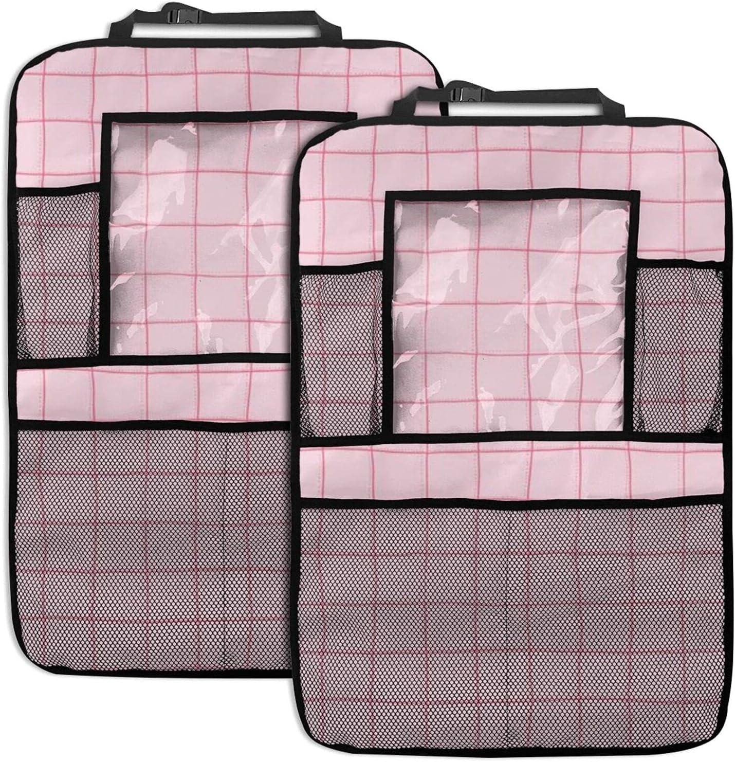 Pink Plaid 2 Pack Car Seat Product Storage Pock Pocket Net Organizer Rare