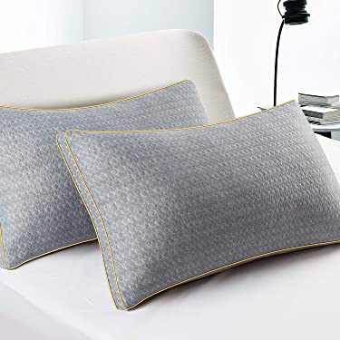 BedStory Pillows of 2, Sleeping Pillows with Polyester Fiber Filling for Side/Back/Stomach Sleepers, Bamboo Charcoal Luxurious Pillows for Pain Relief, Anti-Dust Washable Standard Pillows (48x74CM)