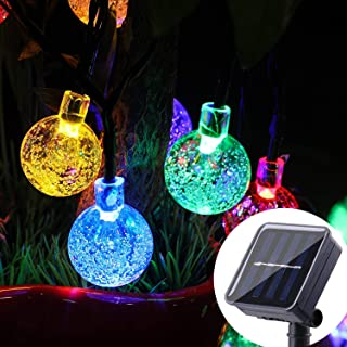 WERTIOO Solar String Lights 45ft 80 LEDs, Outdoor Solar Power Globe Lights Waterproof Crystal Ball Lighting for Patio, Lawn, Garden, Wedding, Party, Christmas Decorations Colorful