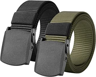 2 Pack Mens Canvas Belts Nylon Military Tactical Web Belt With Plastic Buckle