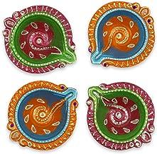 IndoTribe Diwali Diyas for Pooja Diwali Decorations Oil Lamp Diwali Lights Clay Diyas for Diwali Tea Light Holder Indian D...