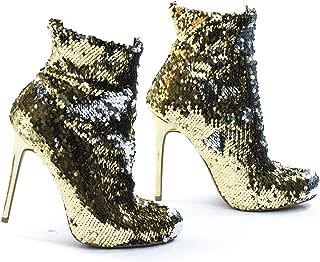Metallic Reversible Sequins High Heel Dress Bootie