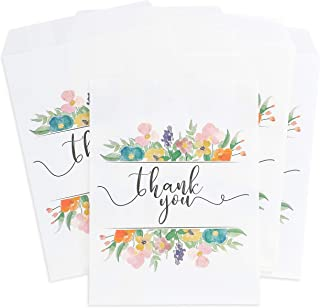 Juvale 100-Pack Floral Thank You Paper Party Favor Treat Bags for Cookies, Candy Buffet, 5 x 7.5 Inches