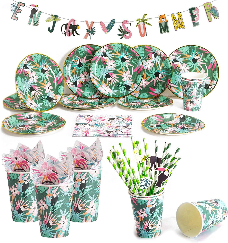 Amycute 89piezas12 Invitados Vajilla de Hawaianos cumpleaños Adulto, Decoracion de Fiesta Tropical, Vajilla Diseño Flamenco Verde Vasos, Platos, Servilletas para Piscina de Verano
