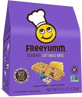 FreeYumm - Blueberry Soft Baked Bars - 15 Individually Wrapped Bars - Allergen Free - Gluten Free - School Friendly
