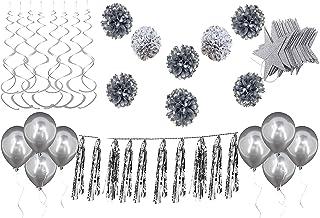 Silver Party Decoration Tissue Paper Pom Poms White Silver Polka Dot Pom Poms Tassel Star Garlands Balloons 25th Wedding A...