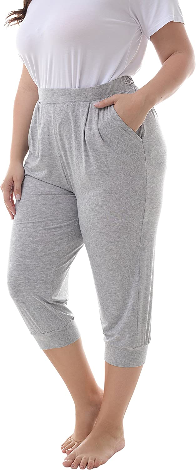 ZERDOCEAN Women's Plus Size Casual Stretchy Relaxed Lounge Capri Pants with 2 Pockets
