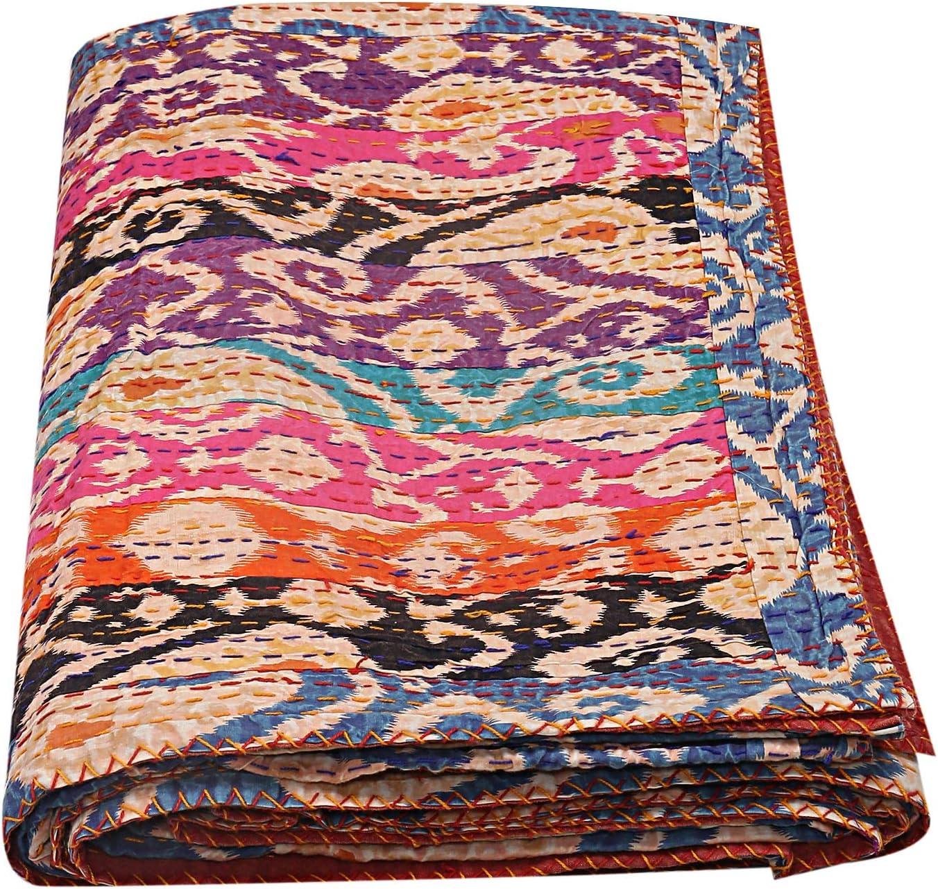 Janki Creation Ikat 賜物 Print Multi 贈答 Kantha Bedspread Indian T Cotton