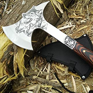 CoolPlus Camping Hatchet with Sheath Outdoor Survival Axe Full Tang Construction Tactical Tomahawk, Etched Wolf Head with Spike, Rose Wood Handle, Perfect for Hiking Hunting Felling [Patented Product]