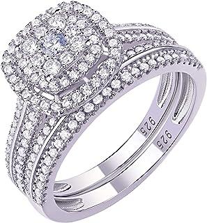 Newshe خواتم الخطوبة للنساء خاتم زفاف 925 خاتم من الفضة الاسترليني جولة تشيكوسلوفاكيا 1.6Ct حجم 5-10