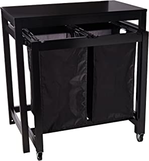 Honey-Can-Do SRT-03571 Double Sorter Folding Table with Wheels, Black, 19 by 32-Inch