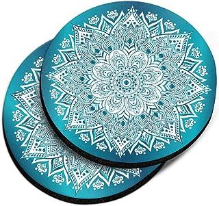CARIBOU Coasters, Teal White Mandala Design Absorbent Round Fabric Felt Neoprene Car Coasters for Drinks, 2pcs Set