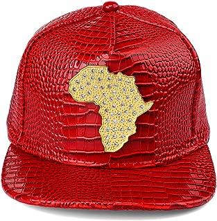 PU Leather Flat Brim Snapback Hat African Map Embossed Snake Skin Alligator Pattern Baseball Cap